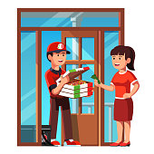 Courier boy handing delicious takeaway pizza in cardboard box at home doorstep. Woman paying money for delivery. Pizza delivery service. Flat isolated vector