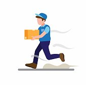 courier boy running delivery package box to customer, express delivery service symbol cartoon flat illustration vector isolated in white background