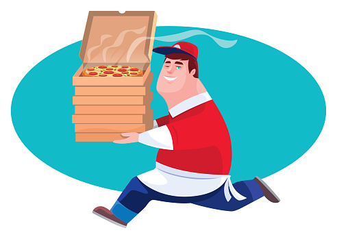 courier carrying stack of pizza boxes and running
