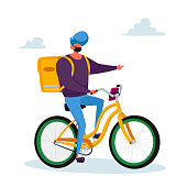Courier Male Character Delivering Food Products to Customer on Bike. Express Delivery Service during Coronavirus Pandemic. Goods Shipping and Transportation to Client Home. Cartoon Vector Illustration