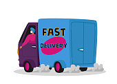 istock Courier Character Delivering Food Products to Customer on Car. Express Delivery Service during Coronavirus Pandemic 1288486061