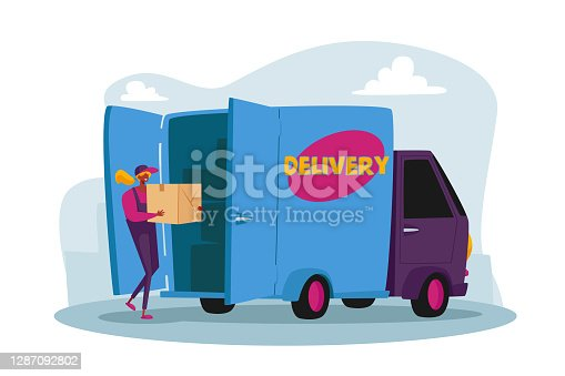 istock Courier Character Loading Parcel Box in Truck for Delivery to Clients. Mail, Postage Package Transportation Service 1287092802