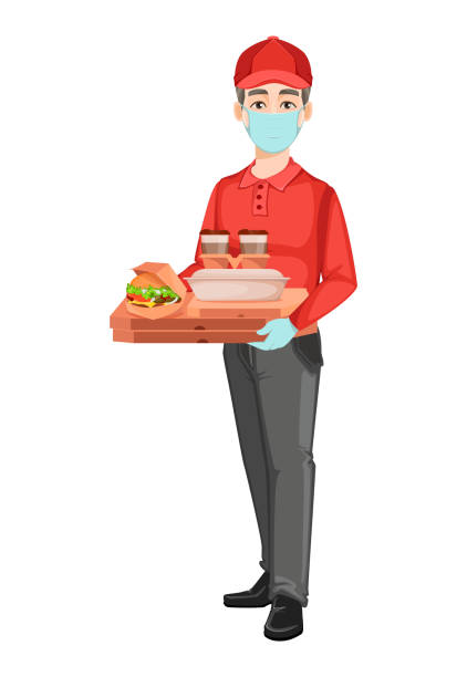 courier delivers food while quarantine - essential workers stock illustrations