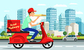 Courier delivers the pizza on the motorbike. Happy man is carrying pizza boxes, delivering to customers. Vector illustration