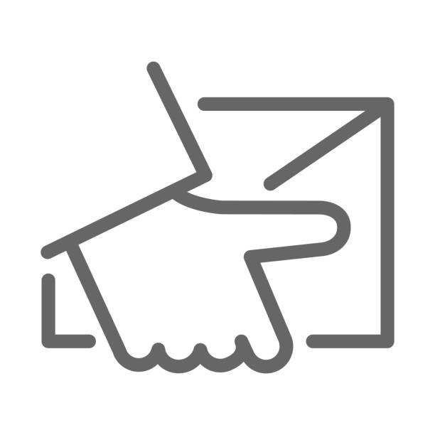 kurier-lieferlinie symbol, logistik-symbol, hand halten paket oder brief vektorzeichen auf weißem hintergrund, home delivery-symbol im umriss-stil für mobile und web-design. vektorgrafiken. - gliedmaßen körperteile stock-grafiken, -clipart, -cartoons und -symbole