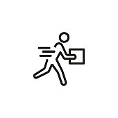 Courier delivery line icon. Postman, parcel, mall. Fast delivery concept. Can be used for topics like order, shopping, service