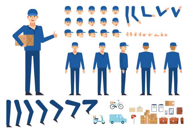 ilustrações, clipart, desenhos animados e ícones de mensageiro, kit de criação de homem de entrega. crie sua própria posição, ação, animação. várias emoções, gestos, elementos de design - landscape creation kit