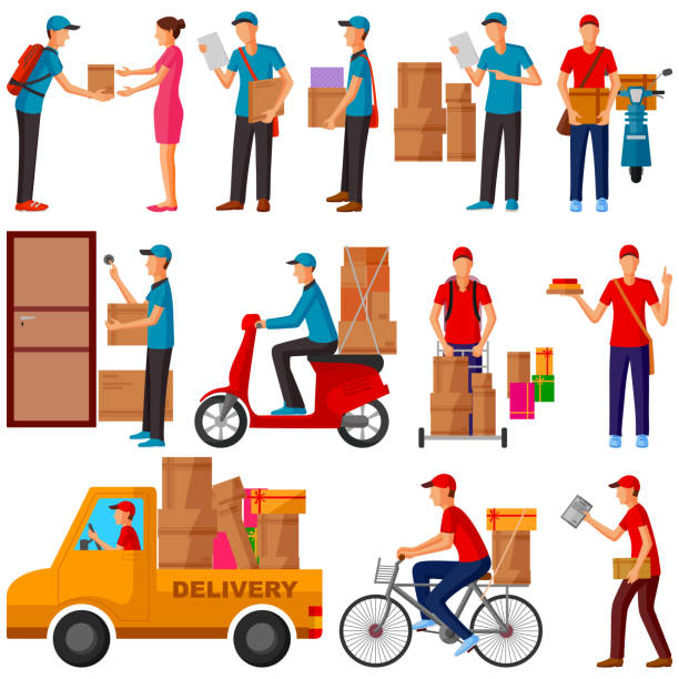 courier , delivery, parcel man delivering product to home - postal worker stock illustrations