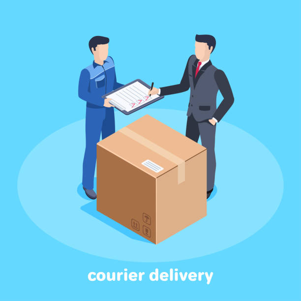 courier delivery - call center stock illustrations