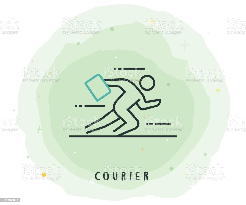Courier Icon with Watercolor Patch