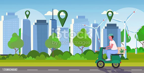 istock courier man riding scooter medical marijuana cannabis delivery service drug consumption concept modern city skyscrapers with location pins cityscape background horizontal full length 1208526332