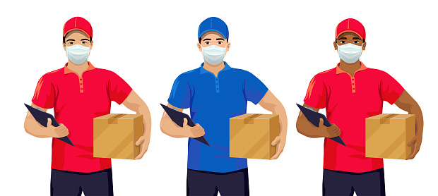 Courier man wearing face mask