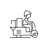 Courier on a motor scooter line icon concept. Courier on a motor scooter vector linear illustration, sign, symbol