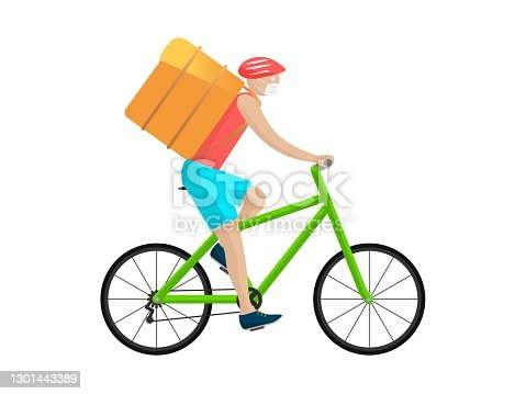 Courier on bicycle delivers order. Character in red helmet and white mask rides green wheeled vehicle with yellow bag backpack express delivery and logistics service throughout vector city,