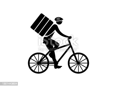 Courier on bicycle delivers order icon. Character in helmet and rides wheeled vehicle with bag backpack express delivery and vector logistics.