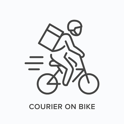 Courier on bike line icon. Vector outline illustration of express delivery. Bicycle pizza guy pictorgam