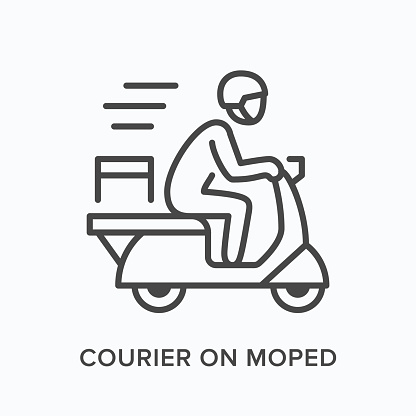 Courier on moped line icon. Vector outline illustration of express delivery. Scooter pizza guy pictorgam