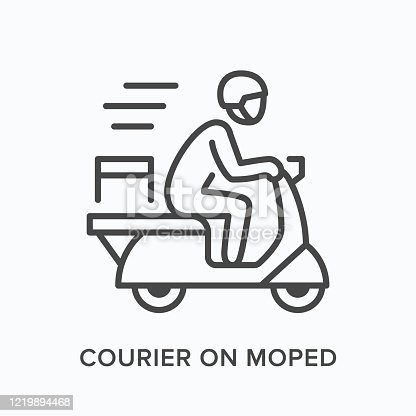 Courier on moped line icon. Vector outline illustration of express delivery. Scooter pizza guy pictorgam.