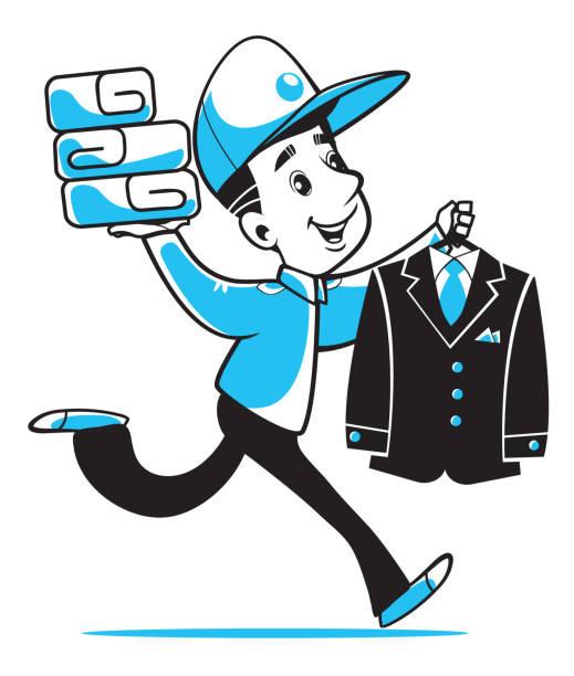宅配便は迅速にご注文 (ドライ クリーニング、ランドリー) を提供します。ベクトルの図。 - 楽しい 洗濯点のイラスト素材/クリップアート素材/マンガ素材/アイコン素材