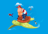 courier riding flying turtle and holding carton