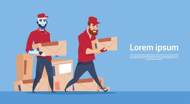 ilustraciones, imágenes clip art, dibujos animados e iconos de stock de mensajero robot llevan caja entrega paquete post servicio banner copia espacio - suministros escolares