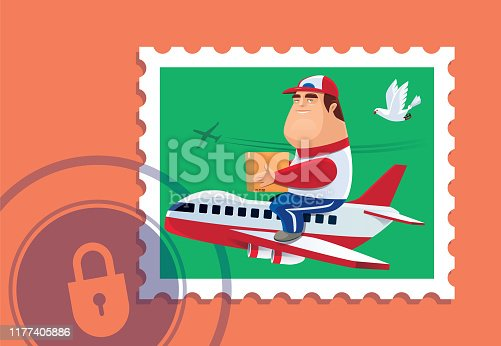 istock courier sitting on airplane with locked sign 1177405886
