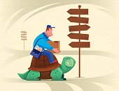 courier sitting on tortoise and checking signpost