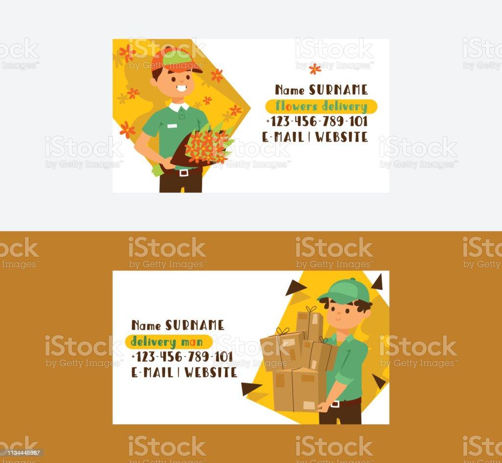 Kurier Vektor Visitenkarte Postbote Charakter Des