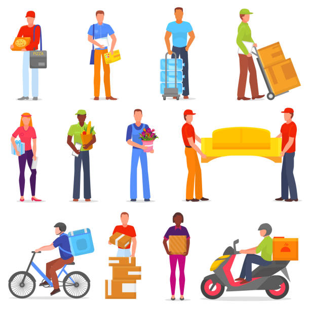 courier vector postman character of delivery service delivering parcel box or package illustration set of deliveryman person transporting cargo isolated on white background - postal worker stock illustrations