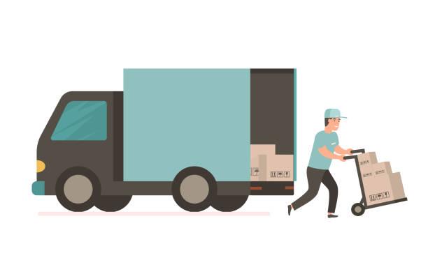ilustrações de stock, clip art, desenhos animados e ícones de courier with cardboard box. vector delivery truck - supermarket worker