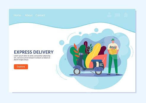 Courier with scooter holding in hand parcel ready for fast delivery to the recipient. Online delivery service concept. Vector illustration for landing page with postal parcel, pack, box