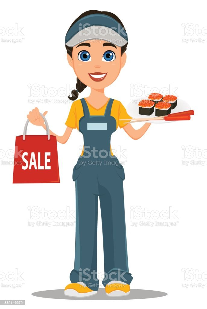 Courier woman holding sushi, chopsticks and paper bag for sale. Professional fast delivery. vector art illustration