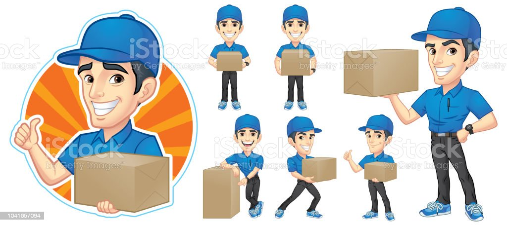 Kurier-junger Mann Zeichensatz mit 6 Poses_Vector Illustration EPS 10 – Vektorgrafik