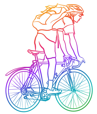Courrier On Bicycle Rainbow