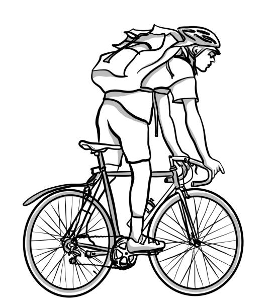 Courrier On Bicycle vector art illustration