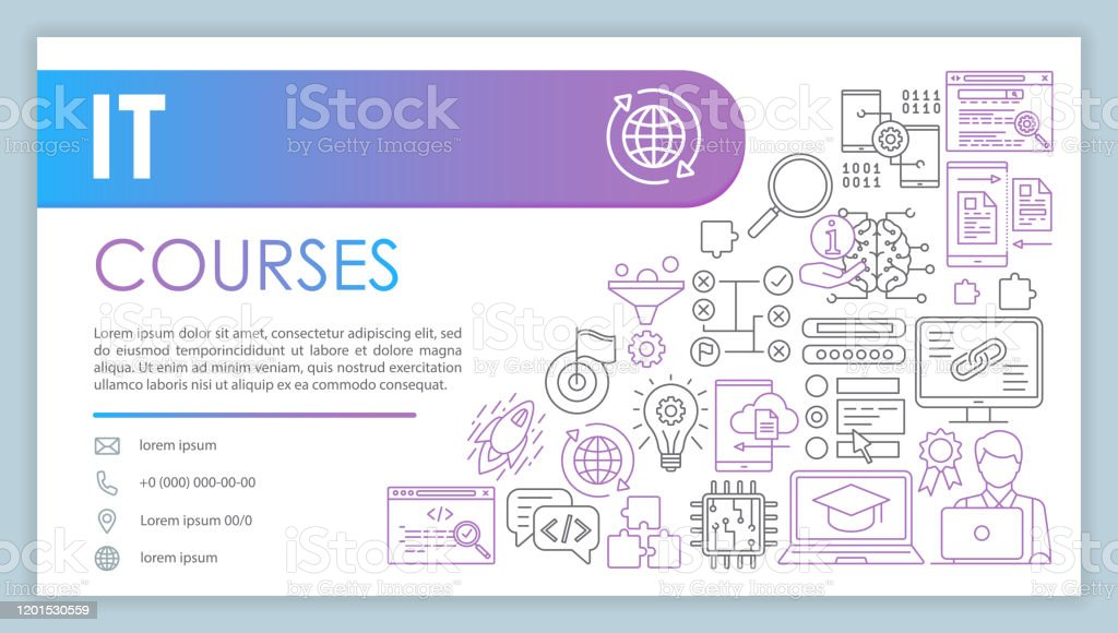 It Course Banner Business Card Vector Template Software Development Company Contact With Phone Email Linear Icons Programming Coding Presentation Web Page Idea Corporate Print Design Layout Stock Illustration Download Image Now