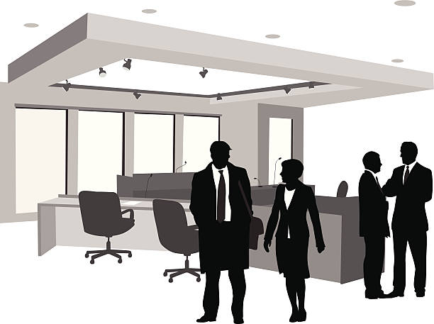 stockillustraties, clipart, cartoons en iconen met court action vector silhouette - four lawyers
