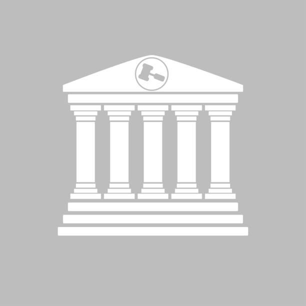 düz tasarım gri mahkeme bina cephe - supreme court stock illustrations