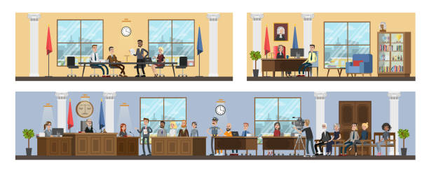 Court building interior with courtroom and offices vector art illustration
