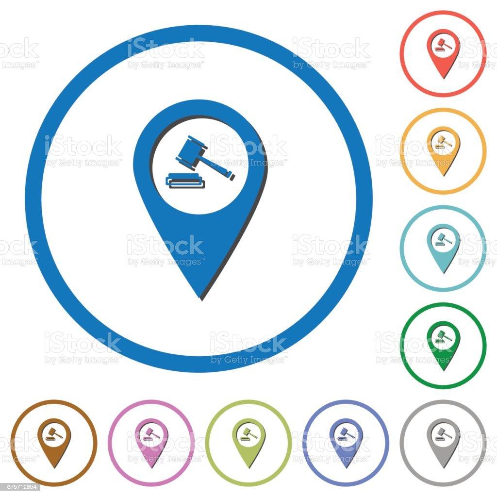 法院的房子 GPS 地圖位置圖示的陰影和輪廓 免版稅 法院的房子 gps 地圖位置圖示的陰影和輪廓 向量插圖及更多 位置描述 圖片