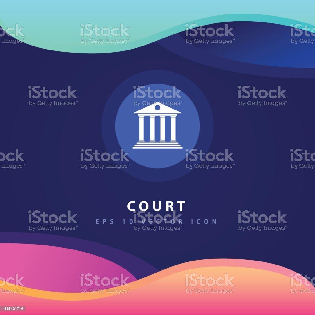 Court icon design on modern flat backgro vector art illustration