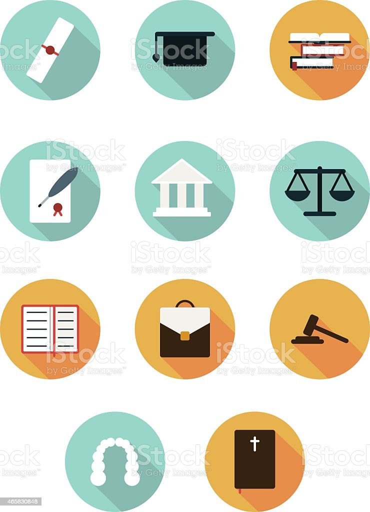 court icons flat style vector art illustration