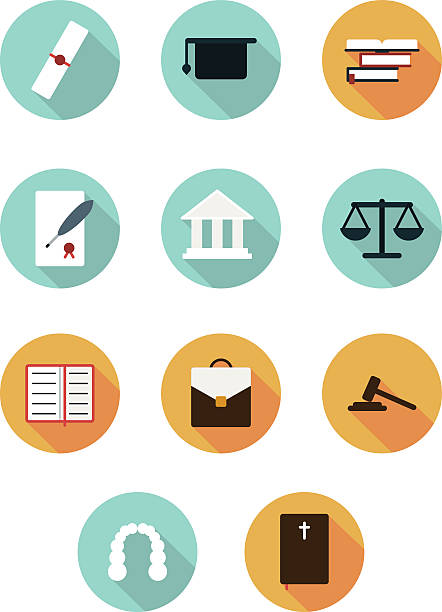 stockillustraties, clipart, cartoons en iconen met court icons flat style - historisch document