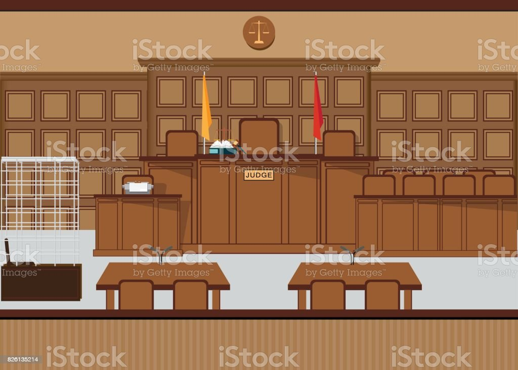 Court of law hall with wooden furniture. vector art illustration