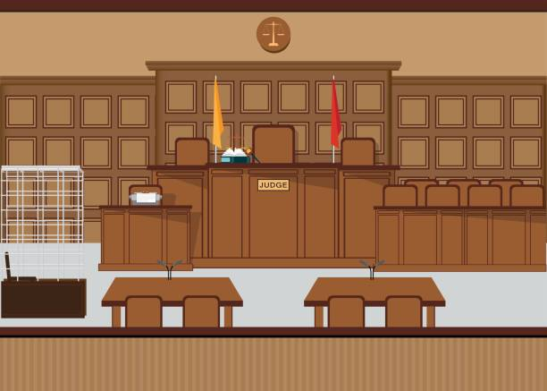 Court of law hall with wooden furniture. Court of law hall with wooden furniture, Judicial court interior vector illustration. supreme court stock illustrations