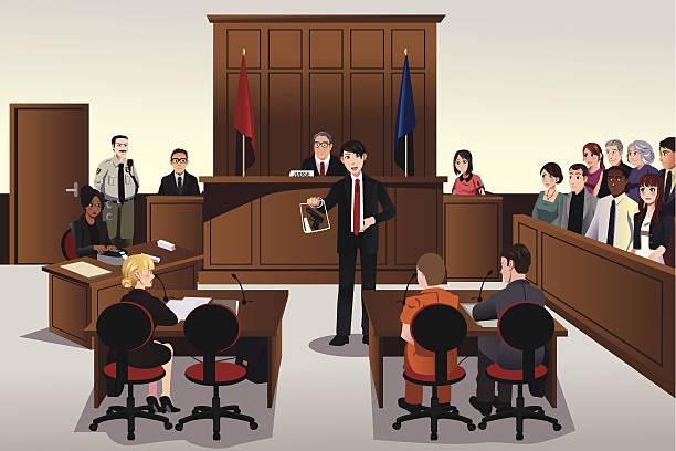 Court scene vector art illustration