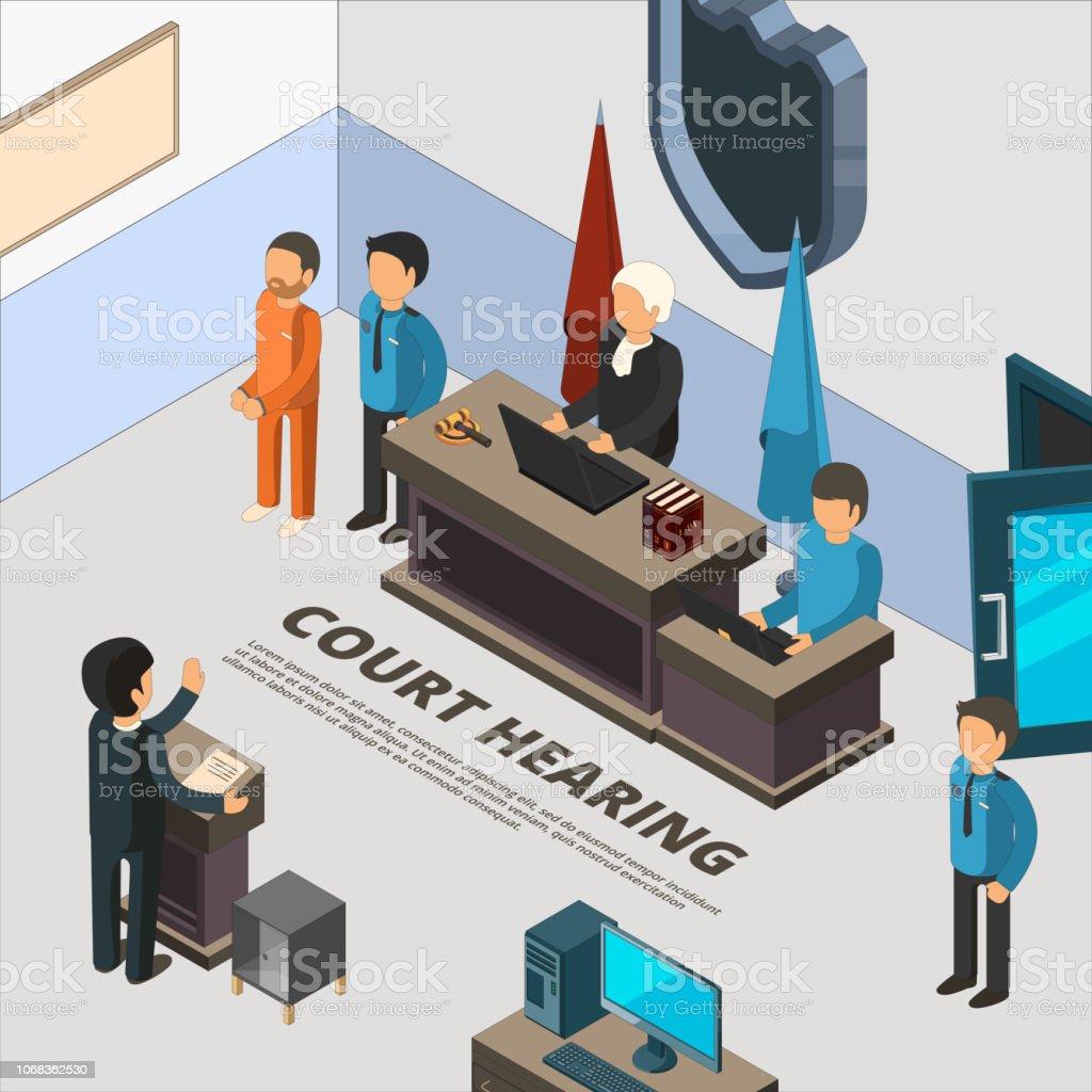 Banners de sessão do tribunal. Processo de lei no réu judiciais polícia e crime interrogatório símbolos isométrica ilustrações - ilustração de arte em vetor
