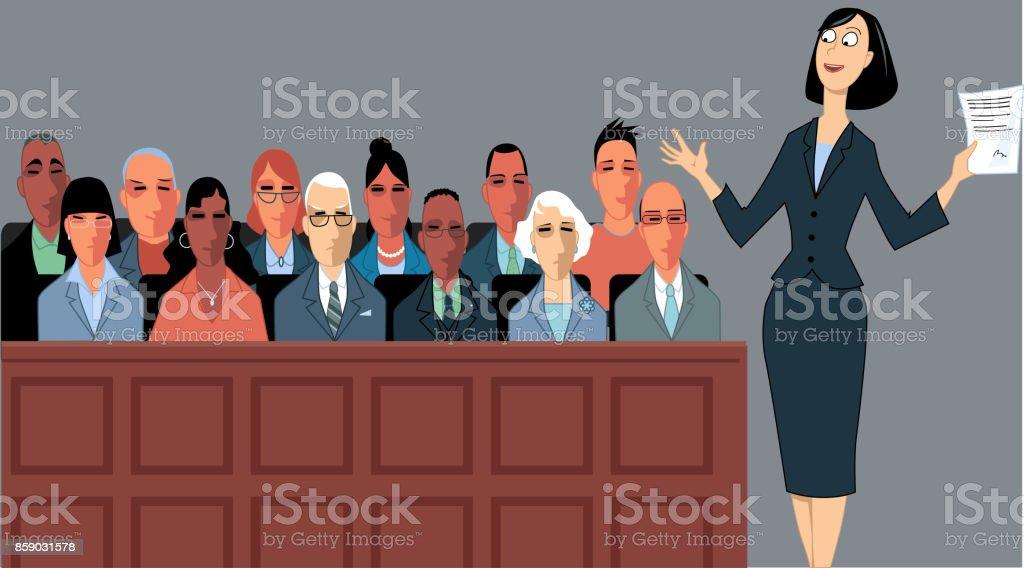 Court trial vector art illustration