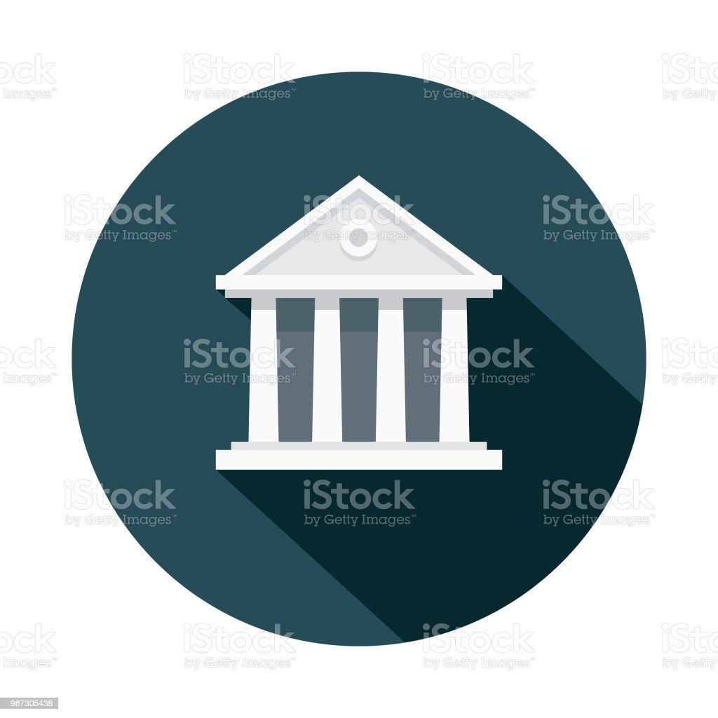 Tingshuset platt Design brottslighet & straff-ikonen - Royaltyfri Arkitektonisk kolonn vektorgrafik