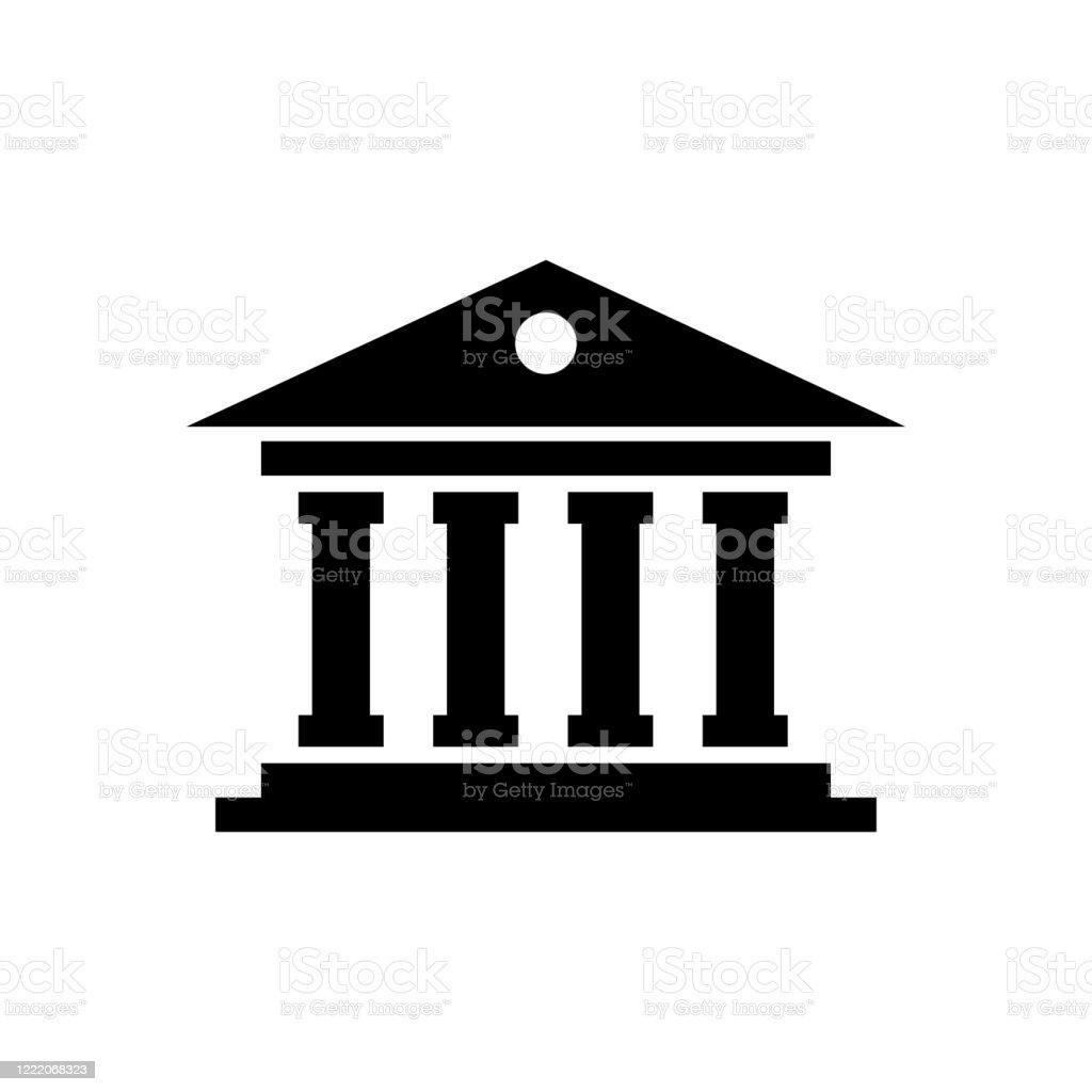 Tingshuset ikonen platt vektor mall design trendig - Royaltyfri Arkitektonisk kolonn vektorgrafik